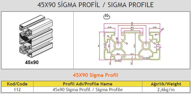 45x90 Sigma Profile